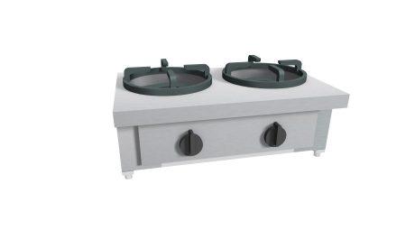 Gas Wok 2 brännare 2×21 kW – CC/02.BB – 1000x500x275 mm (kopia)