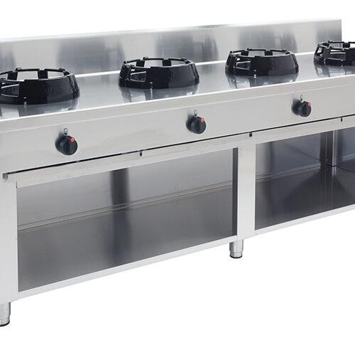Gas Wok 4 brännare 4×21 kW – CC/04 – 2000x500x850 mm