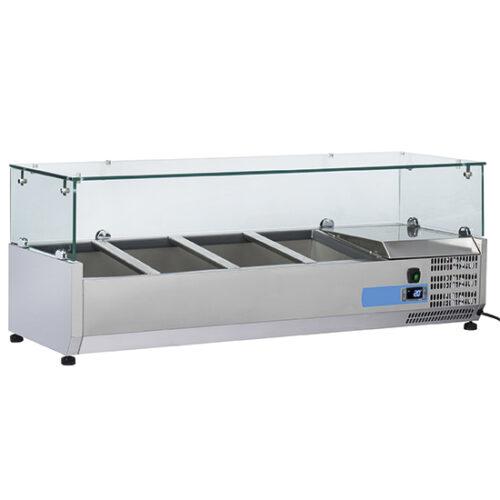 Kylränna 9966CV 3x GN 1/3 + 1x GN 1/2 H=150 mm Hostskydd i glas 1200 mm