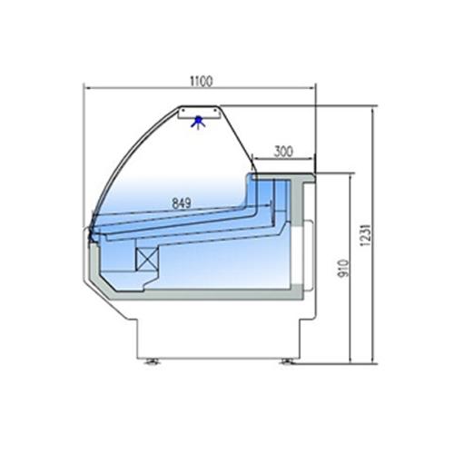Kyldisk med Kylutrymme, Böjd front 1100 mm Djup
