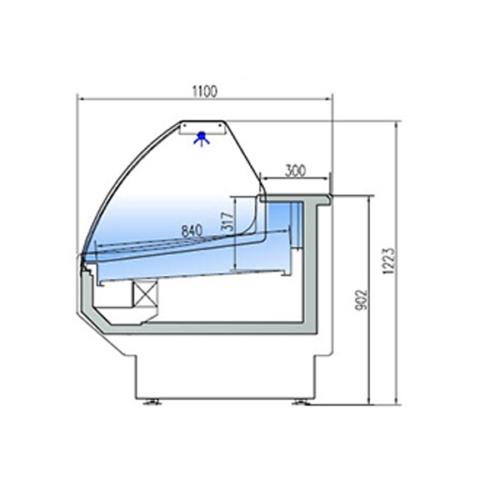 Kyldisk utan Kylutrymme, Böjd front 1100 mm Djup