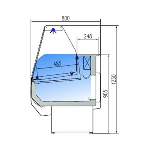 Kyldisk med Kylutrymme, vertikalt glas framtill, 800 Djup i Olika Färger