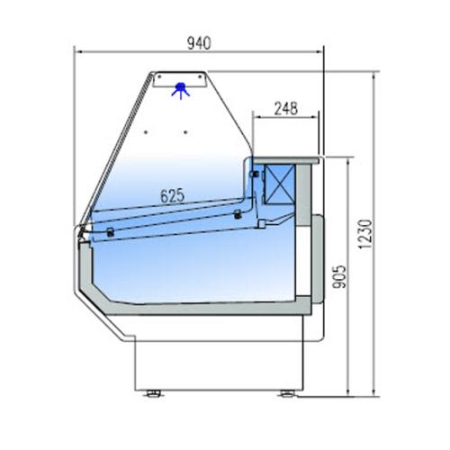 Kyldisk med Kylutrymme, vertikalt glas framtill, 940 mm Djup, Olika Färger