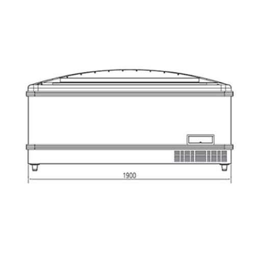 Frysbox horizontal för livsmedelsmarknad 480 Liter, 1940 mm