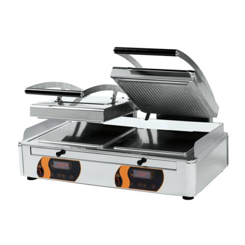 Klämgrill Dubbel – Räfflad/Slätt, Duplex grill 2×4